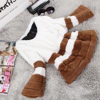2014 new autumn and winter women rabbit fur female short o-neck design double colorant match fur coat Y2P7
