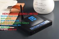 [ Free remote ] RK3188 Quad Core mini pc HDMI RAM1GB ROM 8GB android 4.2 Mic WiFi bluetooth Built-in 2.0MP camera TV box NEO X10