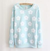 [Magic] beautiful patch flowers o neck pullovers cotton women's hoodies winter warm fleece sweatshirts 4 color free shipping