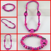 Pink Little Insect Children Jewelry Kids Wood Bead Necklace Beautiful Girls Favourite Necklace Bracelet 12 SET Lots SCJ007