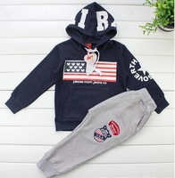 Free shipping,2013NEW(2colors)1pieces/lot, children Long sleeve,set,children T-shirt set,90-130,The United States flag