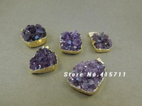 Amethyst Druzy Cluster Pendant edged in 24k gold