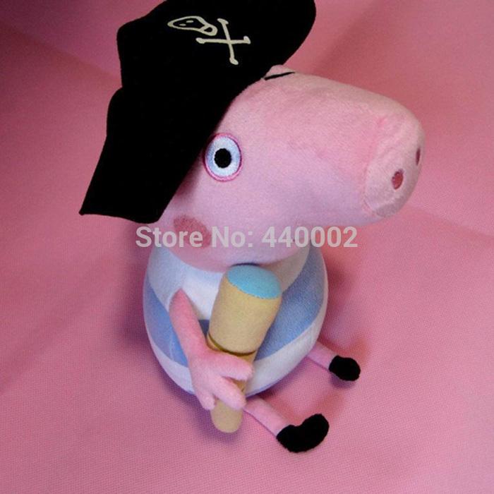 brinquedo macio boneca pirata julgamento george George peppa pig Pirates define altura 30 cm de tamanho grande(China (Mainland))