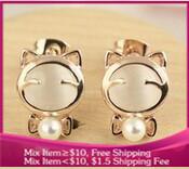 B233 Lovely style Sweet temperament opals bowknot pearl cat Stud earrings girl