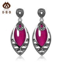 Earrings pure silver long design fashion thai silver  red corundum silver  new arrival women's