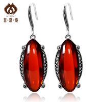 925 pure silver thai silver red zircon gem long design pure silver fashion  personalized