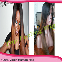 Supper fashion 12-26inch stock brazilian hair glueless full lace wig #1b/#6 two tone ombre human hair wig