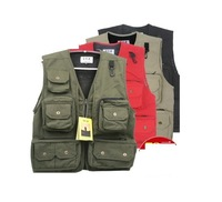 Outdoor spring and autumn male professional multi-pocket vest work wear