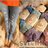 P83 Autumn Winter Cotton Snowflake Pattern Print Step Foot Leggings Thickening Fashion Women's Skinny Pants 7 Colors