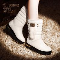 metal decoration boots rabbit fur women's shoes thermal plus velvet anti-slip soles 767 - 5