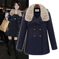 free shipping Aromatic 2013 high quality winter women's overcoat medium-long woolen outerwear rabbit fur trench overcoat