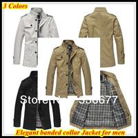 Free shipping European 2013 New arrival Slim fit Top brand mandarin collar business Jacket for men Black Off-white Khaki QR-1230