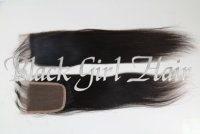 "Natural Color Straight 100% Mongolian  Virgin Hair Lace Top Closure (4"" x 4"") bleached knots natural hairline in stock"