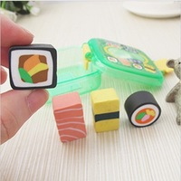 Mini Sushi Cute Erasers With Box Pencil Eraser Plastic Food Storage Set  Free Shipping