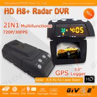 HD Car DVR Radar Detector 720P Model H8+ With 120 Degree Angle + Internal GPS Logger + 20 Inch TFT Display + CPAM Free Shipping