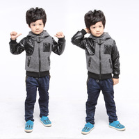 2014Korean version of the fall and winter plus cotton children coat children's clothing casual wool cardigan hooded jacket