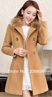 2013New thickening cotton-padded clothes women's wear faux collars&lambs woolcotton-padded jacket coat winter coat Free shipping