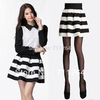 Cute Fashion Women Girls Mini Retro Flared Black and white stripe Skirts