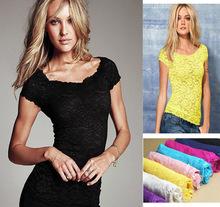 2014 Summer Fashion Women's Tops Tees Lace Short  Sleeve Turtle Neck female T-shirt Sexy Lace  Basic Crop  blusas feminias Shirt(China (Mainland))