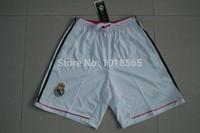Free shipping 14/15 real Madrid football shorts home white shorts embroidery logo Ronaldo 2014 football soccer shorts