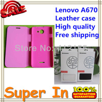 1pcs Free Shipping   leather case for Lenovo A670 Leather Case Lenovo  Packaging Lenovo A670 High quality