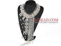 2014 Gorgeous Elegant and Big Style White Freshwater Pearl Crystal Flower Party Tassel Necklace Free Shipping