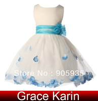 Free Shipping!Grace Karin Satin Voile Round Neck Flower Little Girls Princess Bridesmaid Wedding Pageant Party Prom Dress CL4607