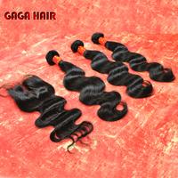 Brazilian Virgin Hair 4pcs/Lot,Lace Closure With 3pcs Hair Bundles Cheap Virgin Human Hair Extension Body Wave DHL free shipping