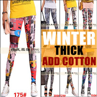 2013 winter fashion van ! leggins for women plus velvet thick warm legging cotton plus size tight leggings print graffiti hose