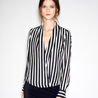 2014 New Deep V-neck Sexy Blouse Autumn-Summer Cheap Black White Striped S-L Size Blouses