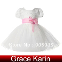 Free Shipping!Grace Karin Flower Little Girls Princess Bridesmaid Wedding Pageant Party Prom Formal Gown Dress White+Pink CL4610