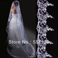 Big laciness 3 meters vintage veil long trailing wedding veil