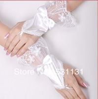 Lace decoration bow short fingerless bride wedding gloves accessories satin gloves