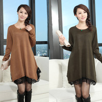 New 2014 autumn maternity clothing plus size women autumn  loose lace sweater  female sweater dress