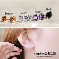 FREE SHIPPING~New Jewelry Fashion 925 Silver Sterling Shinning Zircon Elegant Women/Men Stud Earring