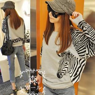 HOT 2014 women's belt letter zebra print long-sleeve sweatshirt pullover female FREE SHIPPING(China (Mainland))