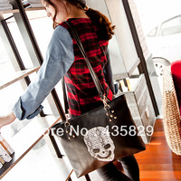Fashion black print skull big bags 2013 women's vintage handbag fashion shoulder messenger bag