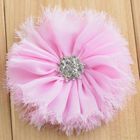 wholesale 200pcs/lot shabby fabric flowers with high quality diamond for hair accessories baby headband MHC11