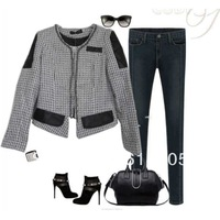 Free Shipping Spring 2014 Fashion Women Denim Jacket Women Clothes Suit Synthetic Leather Plaid Jackets 995B Ivory