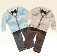 Free Shipping 2 Colors Autumn Cotton Boys Gentleman Clothes Long Sleeve Boys Clothing Sets Wiht Bow Tie