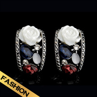 Special Earring Deep Scallops White Rose Opal Flower Vintage New Style Jewelry Wholesale For WomenFree Shipping EH13A101911