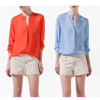 2013 Fashion Women Spring Autumn Loose Casual Epaulette Chiffon Long Sleeve Shirt Orange Blue  Blouse Tops