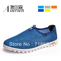 2014 summer, new, men, apartments, leisure, mesh, hollow, sandals, men leather shoes, promotions, free shipping
