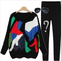 Free shiping autumn and winter Fashion women vintage loose patchwork color block pullover women's plus size sweater female dress