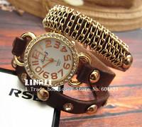 New Arrival Retro golden dial punk rivet COLOR CHOICE  belt watch 3 winding Women fashion watch