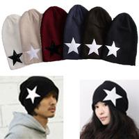 2014  New Fashion Holiday Sale  Korean UNISEX Male/ Famale Star Knit Hat Skull Cap Ski Knit Hat Wholesale 6 colors  Selection