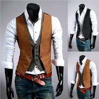 Free shipping Men Cotton Vest Tops Casual Slim Male Waistcoat Gentleman Spring Autumn Outwear Black Grey M24