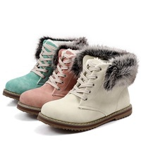 ENMAYER  Oversize 34-43 Fashion 2015 Women's Ankle Boots Thick Warm Fur Lining Winter Boots cross straps Winter Outdoor Shoes