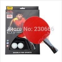 Free Shipping Original Double Fish 6A Training Match PingPong Bat Table Tennis Rackets Free Table Tennis Ball And Bag