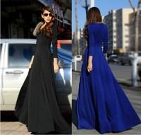 2013 New Fall and Winter Fashion Raccoon Fur Long-Sleeve Slim Waist Expansion Bottom Ultra Long dress Mopping the Floor HA1311